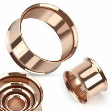 FLESH TUNNEL DOUBLE FLARED ROSE GOLD PIERCING EAR PLUG Size selectable