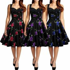 Retro 50s 60s Strappy Swing Rockabilly Skater Dress Floral Sleeveless Party Prom