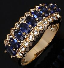 Size 7,8,9,10 Dazzling Blue Sapphire 10kt Gold Filled Engagement Womans Rings