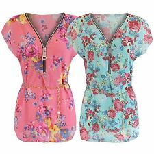 NEW LADIES ZIP FRONT FLORAL CHIFFON LINED BLOUSE WOMENS TOP CHAIN BELT TUNIC