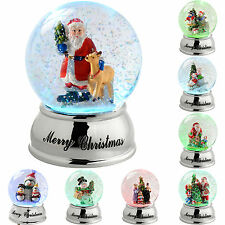 Santa Reindeer Snowman Sleigh Colour Changing Snow Globe Christmas Decoration