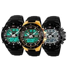 Mens Multifuction Sport Watch Analog Digital LED Display Army Quartz Wristwatch