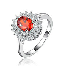 Women's Size 6,7,8 Round Red Garnet 10KT White Gold Filled Engagement Rings Gift