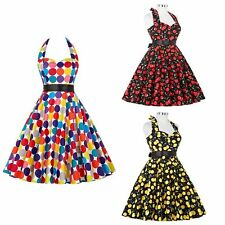Retro 50s60s Floral Tunic Halter Backless Swing Dress Housewife Rockabilly Party