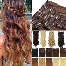 100% Natural Thick Clip in Hair Extensions 8 Pcs Full Head Long As Real Hair USA