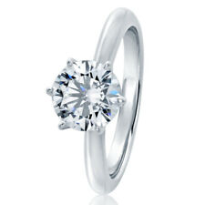 7.5MM Sterling Silver 1.5ct CZ 6 prong Classic Solitaire Wedding Engagement Ring