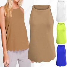 NEW LADIES STRAP SCALLOP EDGE HEM MUSCLE BACK TOP WOMENS CREPE LOOK CAMI VEST