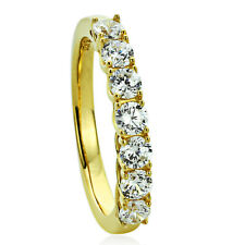 Women 3MM 14K Gold Plated Silver Wedding Ring CZ Seven Stone Anniversary Band