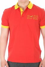 Hugo Boss Paddy Flag 100% Cotton Polo Shirt 50260461-611 Red and Yellow SPAIN