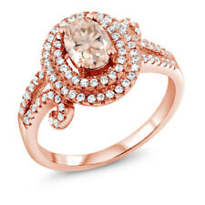 1.90 Ct Oval Peach Morganite 18K Rose Gold Plated Silver Ring