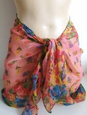 FAB FLORAL FLOWER PRINT SHEER SHORT BEACH SARONG PAREO WRAP 4 COLOURS NEW