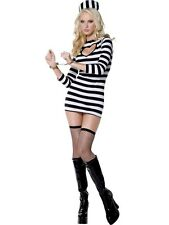 Adult Sexy Convict Prisoner Jailbird Ladies Fancy Dress Hen Party Costume Outfit
