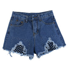 Women's Casual High Waisted Distressed Ripped Pocket Denim Jean Summer Shorts