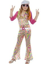 SALE Kids 60s 70s Flower Power Groovy Glam Hippy Girls Fancy Dress Party Costume