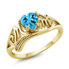 0.96 Ct Swiss Blue Topaz White Diamond 18K Yellow Gold Plated Silver Ring