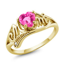 0.96 Ct Heart Shape Pink Mystic Topaz 18K Yellow Gold Plated Silver MOM Ring