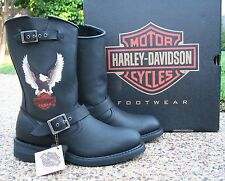 NEW Mens Genuine Harley Davidson Jerry Black Leather Motorcycle Boots - D93309