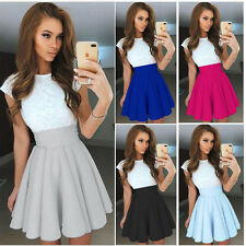 UK Sexy Womens Lace Party Cocktail Mini Dress Ladies Summer Skirt Skater Dresses