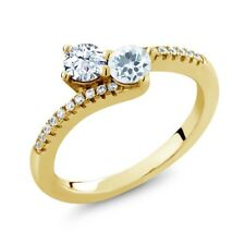 0.79 Ct White Topaz Aquamarine Two Stone 18K Yellow Gold Plated Silver Ring
