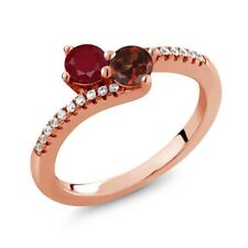 0.91 Ct Round Red Ruby Red Garnet Two Stone 18K Rose Gold Plated Silver Ring