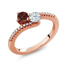 0.94 Ct Round Red Garnet White Topaz Two Stone 18K Rose Gold Plated Silver Ring