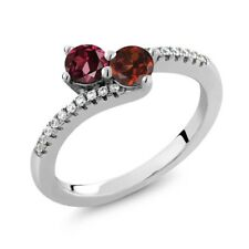 0.98 Ct Round Red Rhodolite Garnet Red Garnet Two Stone 925 Sterling Silver Ring