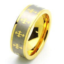 8MM Comfort Fit Tungsten Carbide Wedding Band Gold Tone Celtic Cross Ring