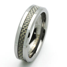 6MM Tungsten Carbide Wedding Band Beveled Edges Carbon Fiber Inlay Ring