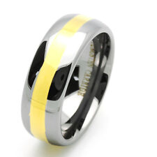 8MM Comfort Fit Tungsten Carbide Wedding Band Gold Tone Domed Ring