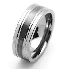 8MM Comfort Fit Tungsten Carbide Wedding Band Brushed Groove Ring