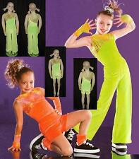 Funky Town Dance Costume Leotard & Mitts with Long Pant or Shorts Lime Clearance