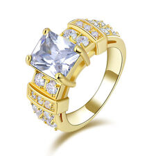 BandLuxury Jewelry White Sapphire 10KT Gold Filled Engagement Rings Gift Size 6-