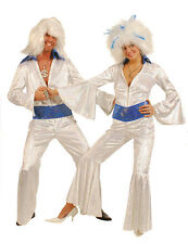 LADIES 60'S 70'S DISCO FEVER DANCING QUEEN WHITE JUMPSUIT COSTUME NEW 10-12-14