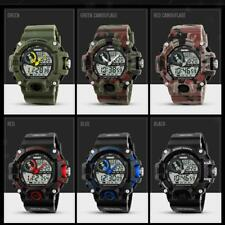Mens LED Light Waterproof Quartz Watch Dual Time Digital Analog Military Watch