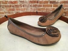 BareTraps Taupe Suede Rosette Lynsey Ballet Flats NEW