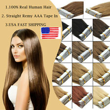 US SHIP Tape In 18'' 20pcs Remy AAA 100% Real Human Hair Extension Women Beauty