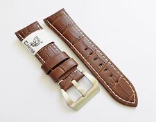 Taurus Genuine Leather Croco Brown Watch Strap Band PreV Buckle Fits Panerai