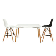 Retro Solid Wood Metal Dinning Kitchen Office Set Chair Table Design Seat White