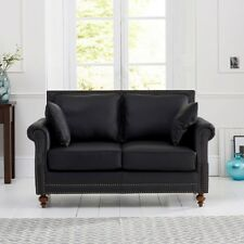 Hadley Black Leather Sofa with 2 Cushions (2/3 Seater)