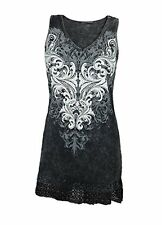 Vocal Women Tunic Tank Shirt Lace Bottom Crystal Tribal in Charcoal Mineral Wash