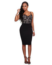 4 Size Womens Bustier Black Lace Top Bodycon body hugging Clubwear Party Dress