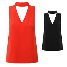 Cut Out Hanging Neck High Neck V Neck Womens New Shirt Sleeveless Plunge Blouse