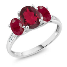 10K White Gold 2.50 Ct Oval Red Mystic Topaz Red Ruby 3-Stone Ring
