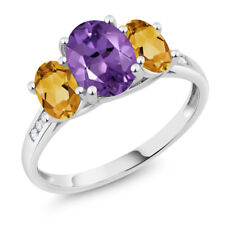 10K White Gold 1.80 Ct Oval Purple Amethyst Yellow Citrine 3-Stone Ring