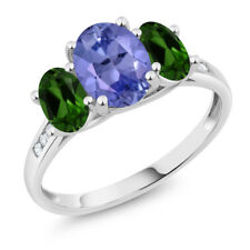 10K White Gold 2.06 Ct Oval Blue Tanzanite Green Chrome Diopside 3-Stone Ring