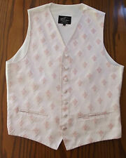 Mens waistcoat Silk mix Pink formal patterned English tuxedo vest XL chest 44
