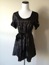SALE Black Metallic Empire Waist Pleated Ruffle Cuffed Sleeve Long Tunic Dress