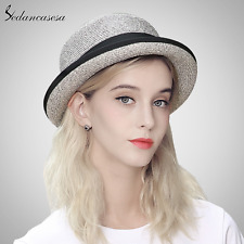 new sedancasesa summer sunprotect leisure bowler cap with curl brim straw hat