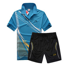 Men's Li-Ning T-Shirt+Short table tennis Badminton SportswearTracksuits Suit