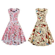 Fashion Sweetheart Neck Floral and Bird 50s Swing Dress with Breathable material